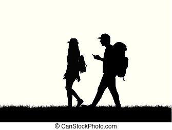 camminare., silhouette, persone