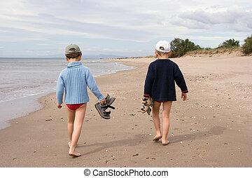 camminare, spiaggia, bambini