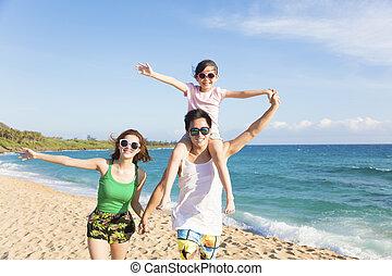 camminare, spiaggia, giovane famiglia, felice