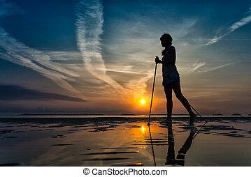 camminare, spiaggia, nordico, alba