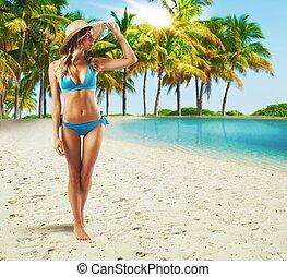camminare, spiaggia, tropicale