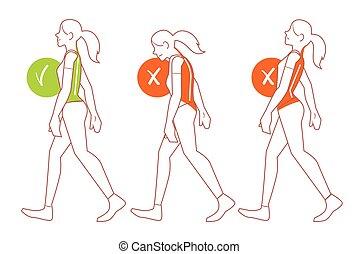 camminare, spina, posa, cattivo, posizione, corretto