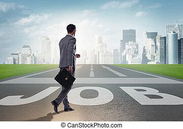 camminare, suo, carriera, verso, aspirazioni, uomo affari