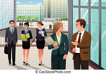 camminare, ufficio, persone affari, parlare, esterno, loro