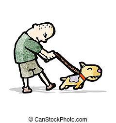 camminare, uomo, cane, cartone animato