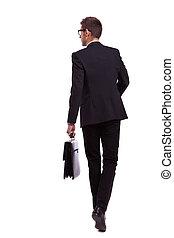 camminare, uomo, cartella, affari, presa a terra