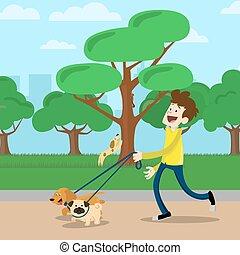 camminare, uomo, parco, cane, giovane