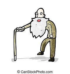 camminare, vecchio, cartone animato, uomo