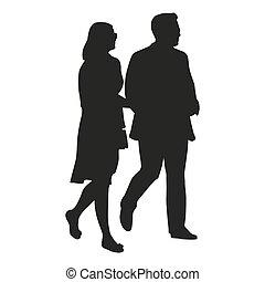 camminare, vettore, silhouette, coppia