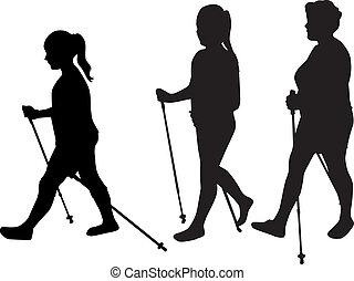 camminare., vettore, silhouette, nordico, donne