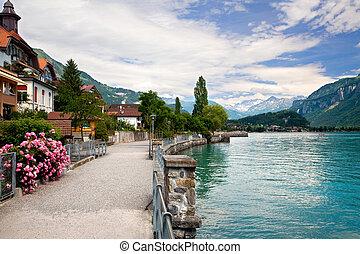 camminare, vicino, il, lago, in, brienz, berne, svizzera