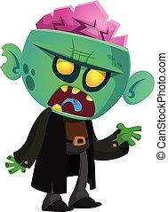 camminare, zombie., halloween, morto, vettore, illustrazione, cartone animato