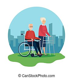 camminatore, carrozzella, donna, vecchio
