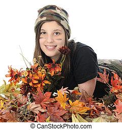 Camo Girl in Fall Foliage