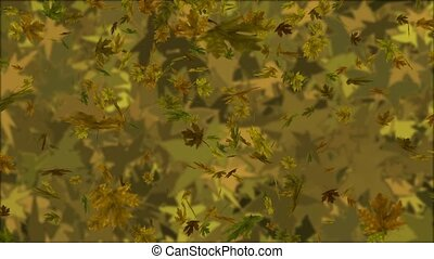 Camo Leaves Loop - Autumn maple leaves in camo colors fall...