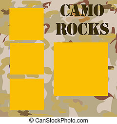 camouflage frame background with words camo rocks illustration