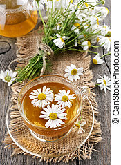 Camomile tea and bouquet of flowers