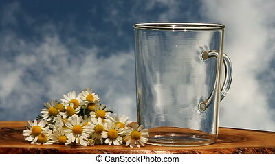 camomile tea - pouring herbal tea into cup