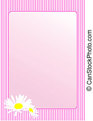 Camomile with pink frame. Vector art.