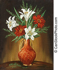 Picture oil paints on a canvas: Bouquet of camomiles and lilies in a red jug