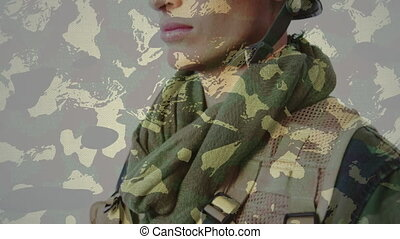 Camouflage background against soldier wearing a helmet - ...