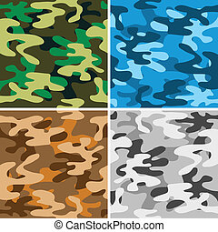Camouflage backgrounds - Set of four seamless camouflage...
