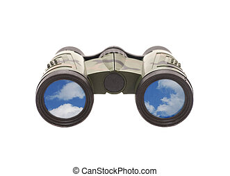 Camouflage binoculars with blue sky and clouds reflection in lenses