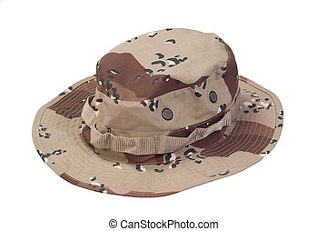 camouflage boonie hat isolated on a white background