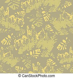 Camouflage floral seamless pattern