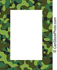 Illustrated camouflage frame, hand drawn, using no filters or plug-ins