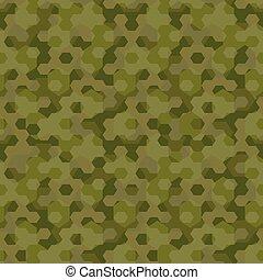 Camouflage geometric hexagon background seamless pattern