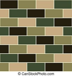 Camouflage Green Brick Wall Seamless Background