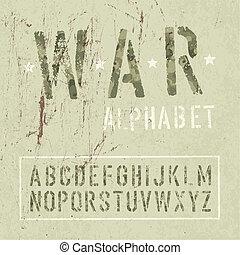 Camouflage grunge alphabet. Vector, EPS10.