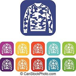 Camouflage jacket icons set