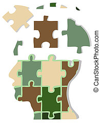 Camouflage jigsaw head - the concept of jigsaw head