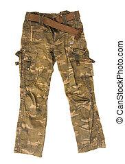 Camouflage pants isolated on white background