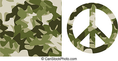 Camouflage pattern and Peace Symbol - Camouflage pattern and...