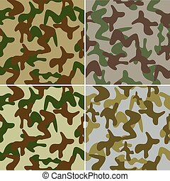 Camouflage seamless colorful background set