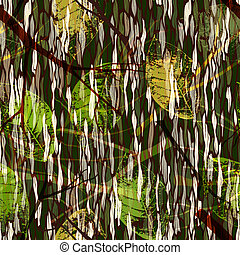 Camouflage seamless pattern with realistic leaves -...
