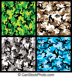 camouflage set - Collection of four different abstract...