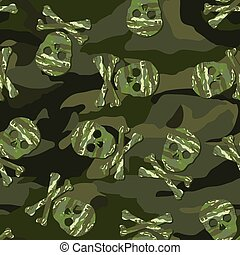 Camouflage skull in a seamless pattern