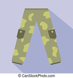 Camouflage trousers flat icon