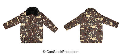 Camouflage winter jacket with black collar.