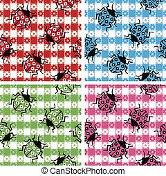 Camouflaged Ladybugs - Ladybugs camouflaged on a seamless...