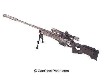 camouflaged modern sniper rifle with scope