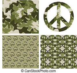 Camouflaged peace patchs - Camouflage and peace symbol...