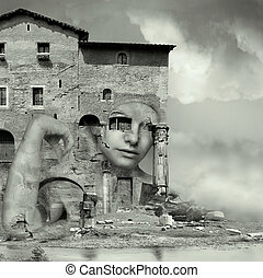 Camouflaged - Artistic surreal imagine in black and white...
