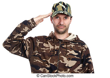 camouflaged - A man dressed with camouflaged uniform