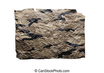 Camouflaged wrinkled paper isolated