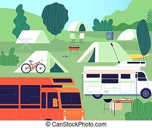 camp., テント, 日当たりが良い, 残り, 木, ベクトル, キャンプ, restfulness., 観光客, ...